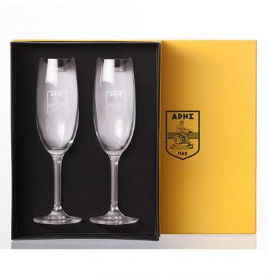 Κρυστάλλινα Ποτήρια Σαμπάνιας Βοημίας σετ 2τμχ με logo ΑΡΗΣ
