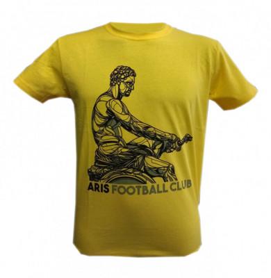 """T-shirt man """"Aris Football Club"""" κίτρινο"""