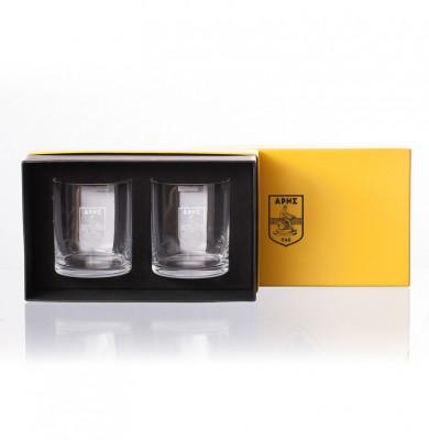 Κρυστάλλινα Ποτήρια Ουίσκι Βοημίας σετ 2 τμχ με logo ΑΡΗΣ