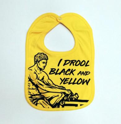 """Σαλιάρα 6m+ """"I drool black and yellow"""""""